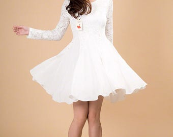 White Lace Chiffon Dress / Little White Dress / White Fit and Flare Dress/Long Sleeve Lace Dress/Navy Lace Dress - Pink Lace Dress / AS2