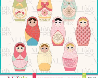 Matryoshka Dolls Clipart, Nesting Dolls Clipart, Babushka Dolls, Russian Dolls, Instant Download, Digital Download