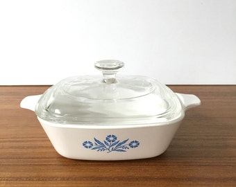 Corning Ware Blue Cornflower P41 With Lid, Corning Ware Blue Cornflower Small With Lid, Corning Ware Blue and White Flower