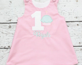 Pink and Mint First Birthday Dress, Monogrammed Pink Gingham Dress, First Birthday Cupcake Outfit, First Birthday Dress