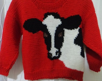 Child's Cow Sweater, Holstein Cow, Dairy Farm Sweater, (Child's Size: 5 - 6X ?), Farming Sweater, County Fair, 4H Sweater