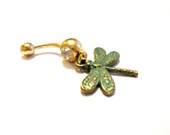 Dragonfly Belly Button Ring, Dragonfly Jewelry, Spiritual Body Jewelry, Radiant Bronze and Green Patina Dragonfly Charm, Gold Navel Ring