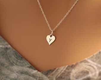 Sterling Silver Y Letter Heart Necklace, Silver Tiny Stamped Y Initial Heart Necklace, Stamped Y Letter Charm Necklace, Y Initial Necklace