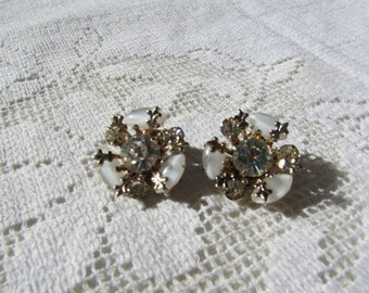Vintage white moonglow and clear rhinestone clip on  earrings
