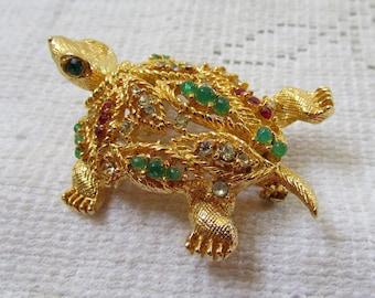Vintage STUNNING rhinestone nodder trembler turtle brooch 60's  estate find