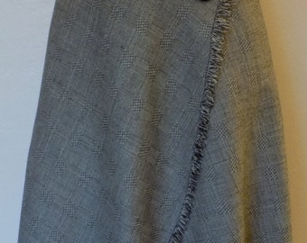 black and white glen plaid wrap skirt