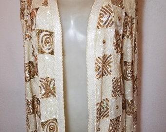 FREE  SHIPPING   Nipon Sequin Bead Silk  Jacket
