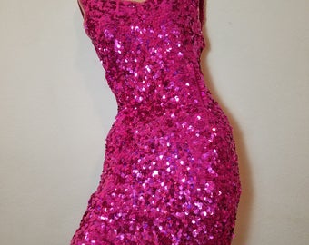FREE  SHIPPING  1980  Silk  Sequin  Dress