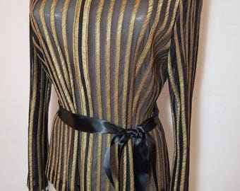 FREE  SHIPPING     Sheer Black  Gold  Jacket
