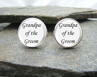 Grandpa of the Groom Cufflinks,  Grandpa cufflinks, personalized cufflinks