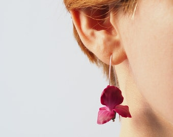 Pink iris flower earrings, Valentine's Day gift for her, dangle earrings, polymer clay floral jewelry