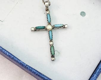 "Vintage Sterling Silver Petit Point Turquoise Cross Pendant Necklace - 19"" Long - 2.5 Grams"