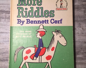 More Riddles by Bennett Cerf, 1961, and more drawings by Roy McKie, Dr. Seuss Beginner Books Children's Book vintage