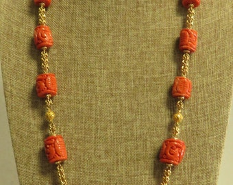 "Vintage 14 kt Gold Hand Made & Carved Graduated Salmon Coloration, Coral Barrel Shape Gold Filigree Beaded 32"" Hand Woven Link Necklace."