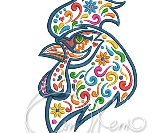 MACHINE EMBROIDERY DESIGN - Calavera rooster, Dia de los muertos, Mexican design, calaveras animal, Day of the dead, Rooster embroidery