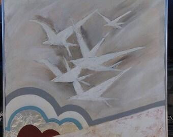 Old Vintage Lee Reynolds Vanguard Studios Painting Mid Century Modern Seagulls