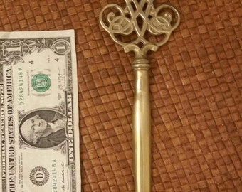 Vintage Solid Brass Letter Opener by the Famous Virginia Metal Crafters. Gorgeous, can polish to shine or leave a little rustic