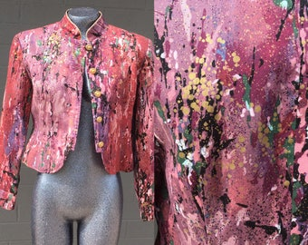 Paint Splattered Pink Lavender Medium Jacket Mandarin Collar Lightweight Avant Garde Street Style Brooklyn