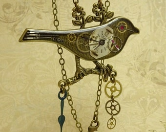 Steampunk Bird Collector Necklace, Real Watch Parts & Rubies, Antique Bronze, Set in Resin, # 2057