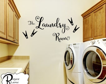 The Laundry Room with Clothes Pins L6R Vinyl Laundry Wall Decal