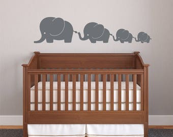 Silver Elephant Family- Elephant Family Decal 4 Elephants