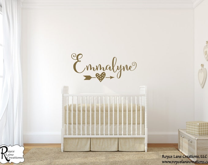 Featured listing image: Personalized Name with Arrow Wall Decal