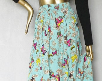 flowing rayon skirt \ turquoise \ butterfly print