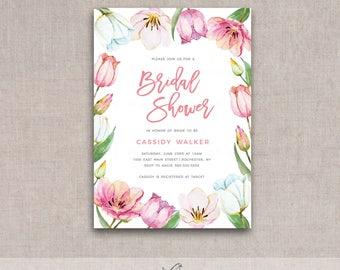Spring Tulips Bridal/Baby Shower Printable Invite