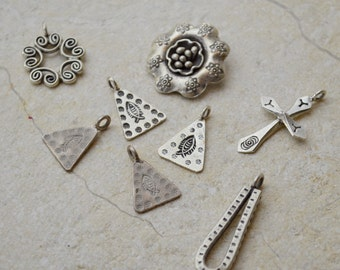 Destash Hill Tribe Thailand Fine Silver Charms and Pendants, Handmade, Beading Supply, Jewelry Making, Flower, Swirl, Fish Triangle, Cross