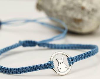 Sterling Silver Hippo Bracelet - Totem Animal Friendship Bracelet - Good Luck Bracelet