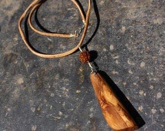 Olive tree wood and rudraksha seed bead pendant. wooden necklace. Sterling silver Handmade jewelry. shivas hindu pendant. esoteric. Japamala