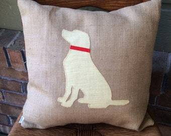 16x16 yellow lab silhouette pillow with insert-yellow lab pillow-dog lover gift-pet memorial-new dog gift-dog decor-lab decor