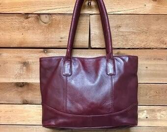 Vintage Large Leather Tote Vtg Oxblood Maroon Leather Bucket Bag Laptop Ipad Bag