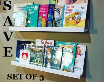 Set of 3 Book Ledge Shelves, save, plate shelf, spice rack, kids room, nursery, children, book corner, new mom, reading, kitchen, wall decor