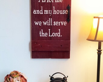 As for Me and My House We Will Serve the Lord Reclaimed Wood Christian Scripture Sign Door Gate ~ Joshua 24:15