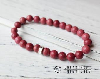 AAA Rhodonite Bracelet Healing Gemstone Bracelet, Red Bracelet, Red Wristwear, Rose Red Jewellery, Red Stacking Bracelets