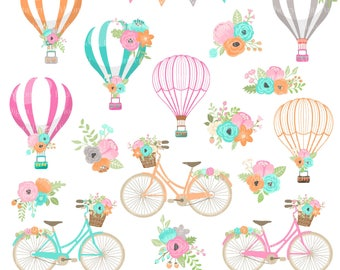 Hot Air Balloons Bicycle Clipart. Floral Bicycle. Wedding Invitation. Bike Clipart. Hot Air Balloons Clipart. Flower Basket. Commercial Use
