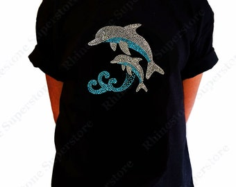 "Girls Rhinestone T-Shirt "" Dolphins Jumping "" in Kids Size 3 to 14 Available"
