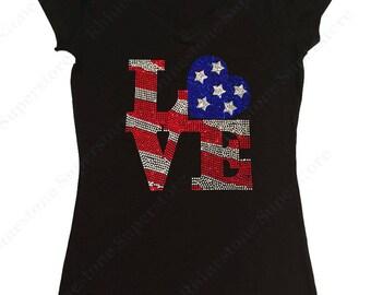 """Women's Rhinestone T-Shirt """" Love 4th of July """" in S, M, L, 1x, 2x, 3x"""
