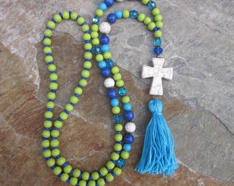 x-long beaded necklace turquoise blue lime green jewelry bohemian chic boho long beaded tassel necklace hippie necklace cobalt blue  cross
