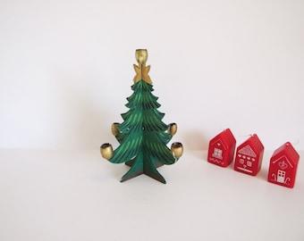 Swedish Vintage Christmas Taper Holder // Wood Christmas Tree Candle Holder
