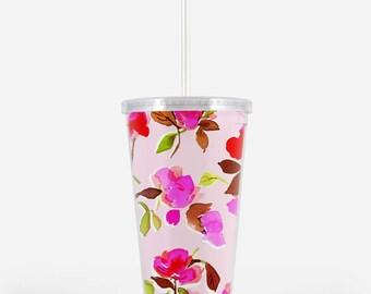 Acrylic Tumbler: Dizzy Pink Floral