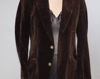 Men's Brown  Velvet Tailored Jacket 1980's   small   Halston
