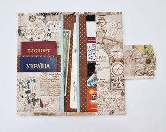 Travel wallet, Family travel holder, Travel document organizer, Boarding pass cover, Passport wallet, Map print, Compass, Brown