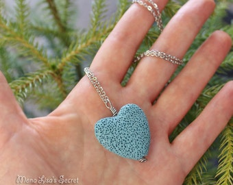 Aromatherapy Lava Stone Necklace, Essential Oil Diffuser Necklace, Turquoise Blue Lava Heart Pendant Necklace, Lava Heart Perfume Diffuser