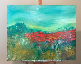 """30"""" x 24"""" OIL painting, poppies & field original painting"""