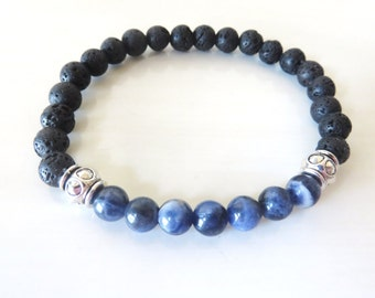 Chakra Bead African Sodalite Lava Bead Essential Oil Aromatherapy Yoga Relaxation Therapeutic Stretch Bracelet
