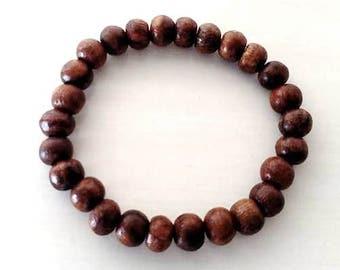 Yoga Om Ohm Round Wood Beaded Stretch Bracelet