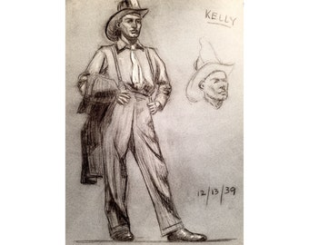 Mid Century Charcoal Drawing of Man in Fire Hat 1939