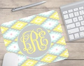 Aztec Mouse Pad, Yellow and Blue Aztec Mouse Pad, Personalized Mouse Pad, Custom Mouse Pad, Monogram Mouse Pad (0067)
